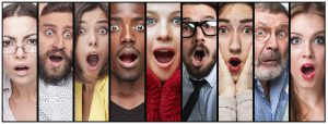 The collage of surprised young men and women